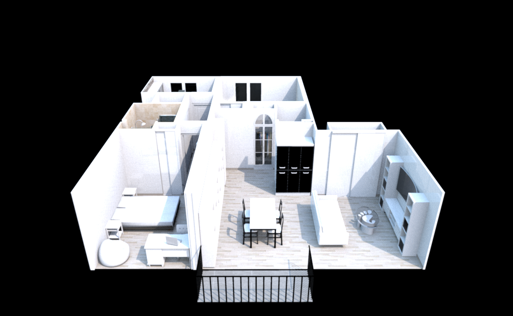 Plan projection balcon sans mur slaon